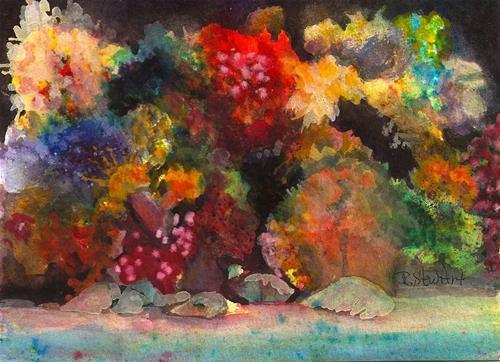 """5x7 Underwater Saltwater Aquarium Rocks Coral Sand by Penny StewArt"" original fine art by Penny Lee StewArt"