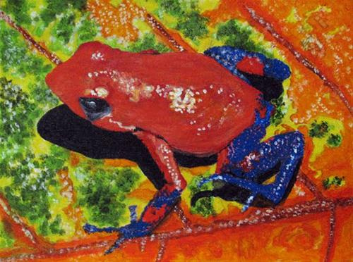 """Blue Jean Frog"" original fine art by Nan Johnson"
