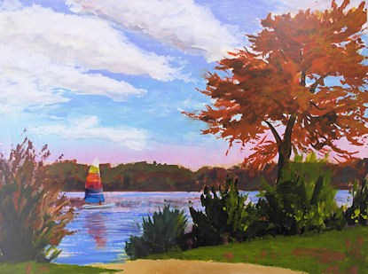 """Fall Sail acrylic sketch on board"" original fine art by Jamie Williams Grossman"