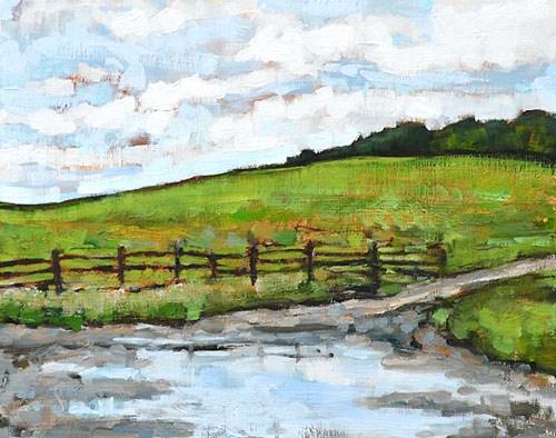 """Virginia Farm Mud Puddle"" original fine art by Kevin Inman"