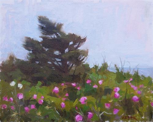 """Beach roses"" original fine art by Kathy Weber"