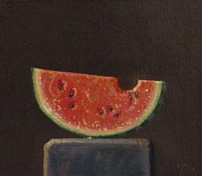 """Summer Watermelon Slice on a Wood Block"" original fine art by Abbey Ryan"