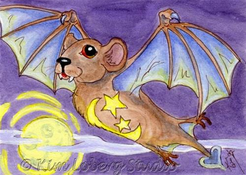 """Cosmic Vampire Demon Bat"" original fine art by Kim Loberg"