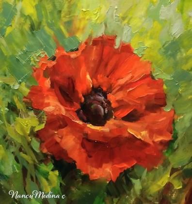"""Fair Winds Poppy and my Grandpa the Baseball Player by Nancy Medina"" original fine art by Nancy Medina"