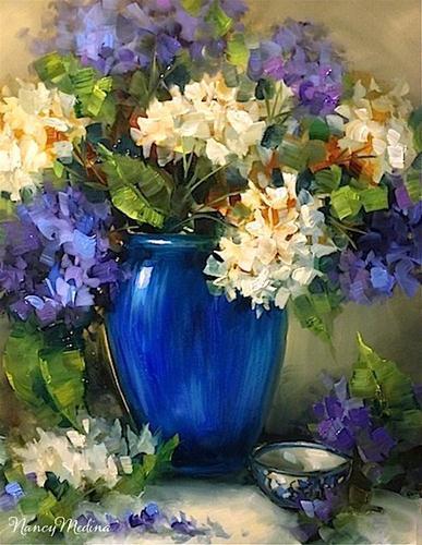 """New Day Blue Hydrangeas and a Hydrangea Workshop by Texas Flower Artist Nancy Medina"" original fine art by Nancy Medina"