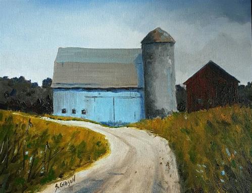 """Matthew's Blue Barn"" original fine art by Steve Gibson"