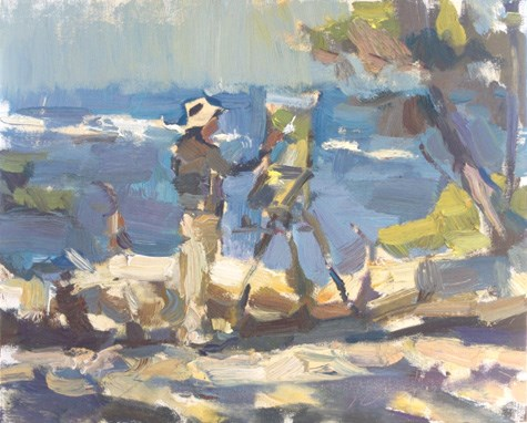 """""""Painting in California 22 Thomas Kitts paints his winning painting"""" original fine art by Roos Schuring"""
