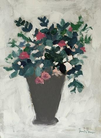 """Blooms in Grey Vase"" original fine art by Pamela Munger"