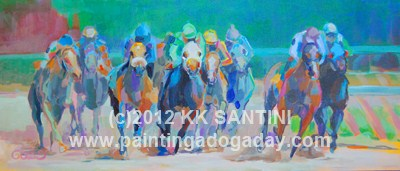 """""""And Down the Stretch They Come !!"""" original fine art by Kimberly Santini"""