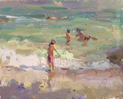"""""""Seascape Plein air Turquoise water and Light Moves"""" original fine art by Roos Schuring"""