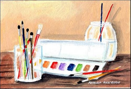 """Let's Paint!"" original fine art by Patricia Ann Rizzo"