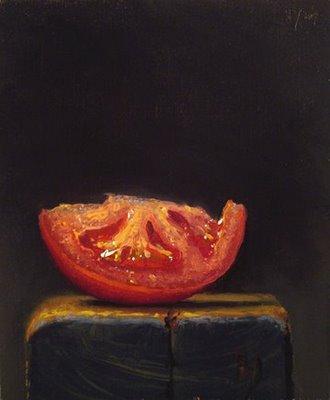 """Tomato Wedge on a Wood Block"" original fine art by Abbey Ryan"