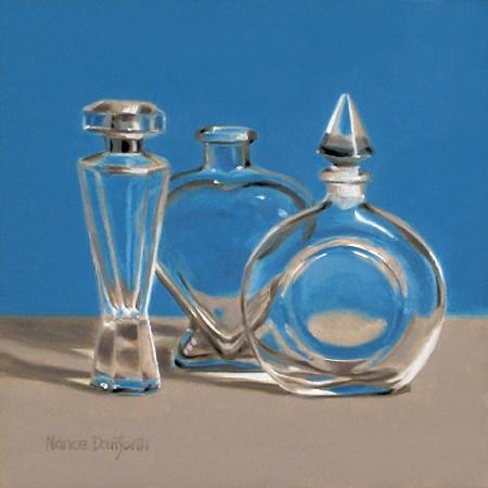 """Three Perfume Bottles"" original fine art by Nance Danforth"