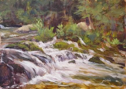 """Cascading Toward the Hudson"" original fine art by Jamie Williams Grossman"