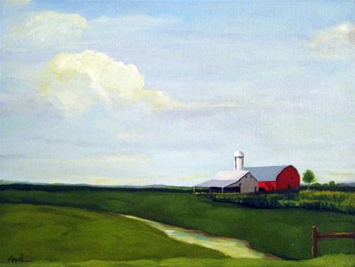 """Early Corn farm landscape red barn oil painting"" original fine art by Linda Apple"