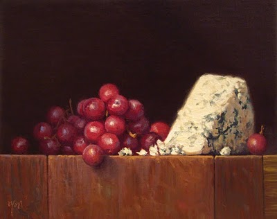"""""""Still Life with Grapes and Bleu Cheese (larger painting)"""" original fine art by Abbey Ryan"""