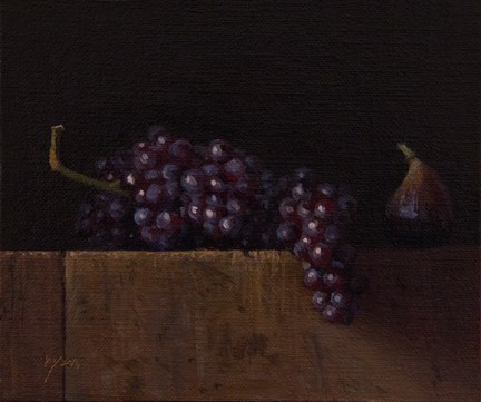 """""""Still Life with Fig and Champagne Grapes"""" original fine art by Abbey Ryan"""