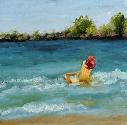 """Yellow Chair in Surf"" original fine art by Kristen Dukat"