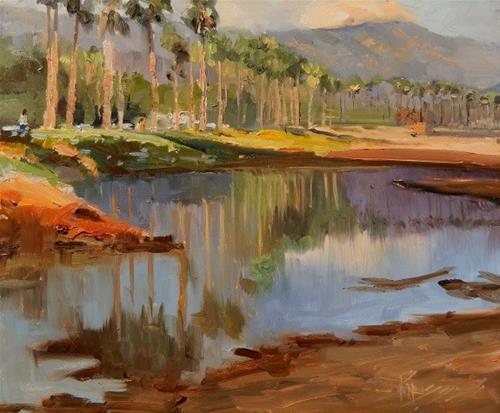 """Santa Barbara Waterfront  California, plein air painting by Robin Weiss"" original fine art by Robin Weiss"