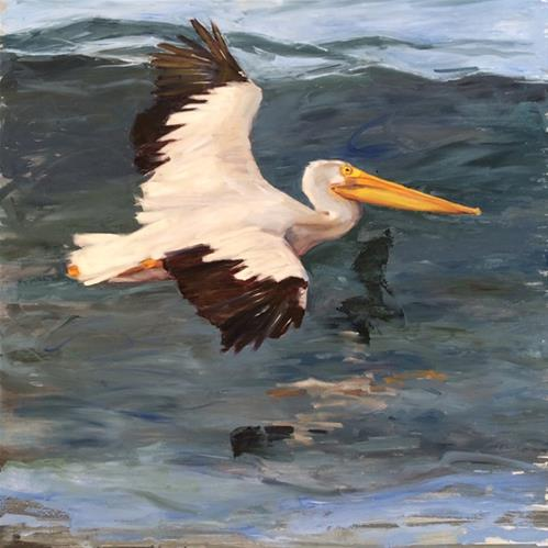 """Skimming"" original fine art by Deborah Newman"