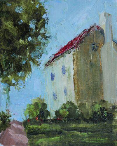 """1850 Farm House, Acrylic Painting"" original fine art by Amy Whitehouse"