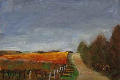 """Vineyard's Edge"" original fine art by Raymond Logan"