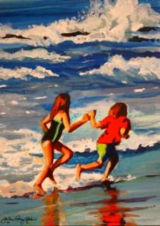 """Dodging Waves"" original fine art by JoAnne Perez Robinson"