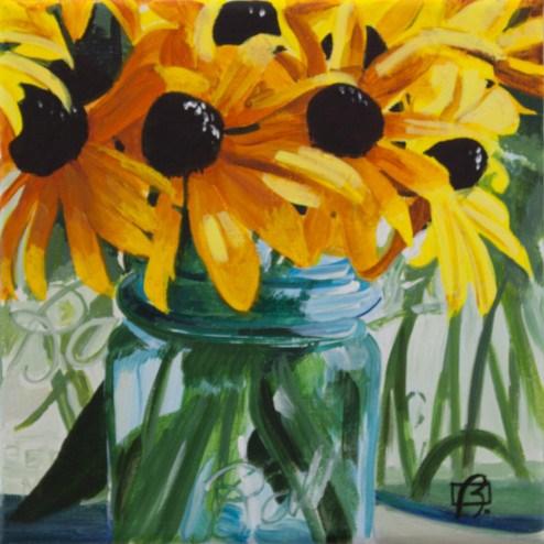 """""""Flowers in Ball Jar"""" original fine art by Andre Beaulieu"""