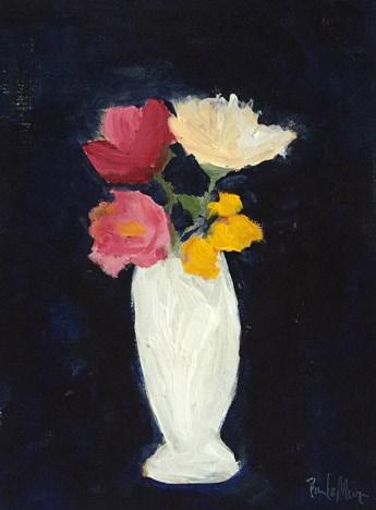 """blooms in white vase"" original fine art by Pamela Munger"