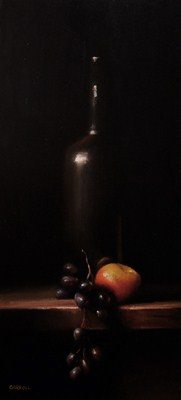 """Bottle with Apple and Grapes"" original fine art by Neil Carroll"