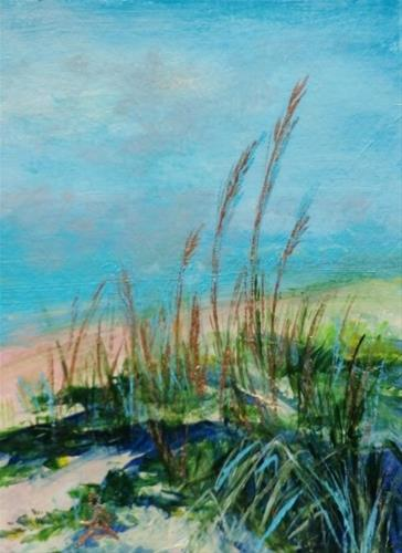"""3241 - SUMMER DUNE - FRAMED ACEO Series"" original fine art by Sea Dean"