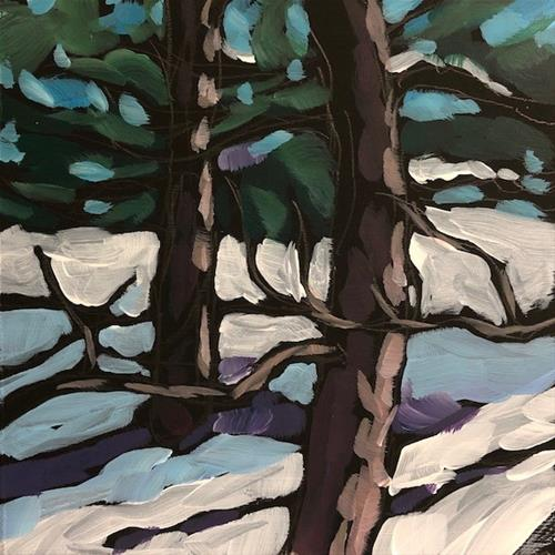 """Pines Out The Window"" original fine art by Kat Corrigan"