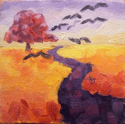 """""""#26 Lone Oak, Van Gogh Field"""" original fine art by Kathy Johnson"""