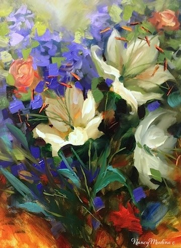 """Iris and Ranunculus and Your French Painting Invitation - Flower Paintings by Nancy Medina"" original fine art by Nancy Medina"