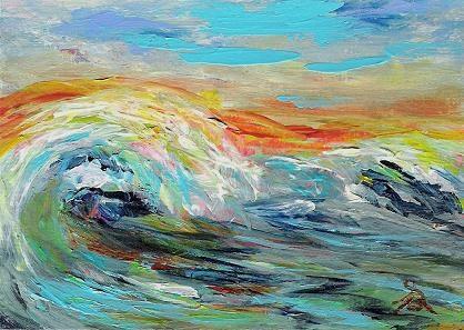 """3104 - LUMINOUS BREAKER - ACEO DUO Series"" original fine art by Sea Dean"