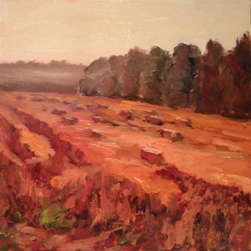 """""""Hay Bales and Morning Fog, Day 37"""" original fine art by Claudia L Brookes"""