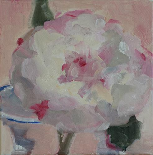 """Peony in Glass Vase"" original fine art by Catherine Van Berg"