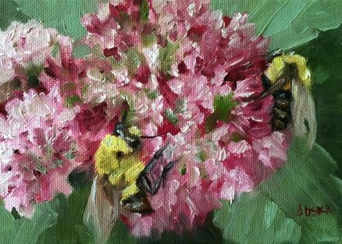 """""""Bees and Pompoms"""" original fine art by Elaine Juska Joseph"""