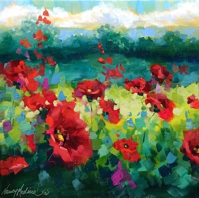 """""""The Best Way to Brighten Reds and Yellows - Rainy Day Poppies - Flower Paintings by Nancy Medina"""" original fine art by Nancy Medina"""