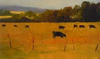 """""""Cows on Whidbey Island  oil landscape painting"""" original fine art by Robin Weiss"""