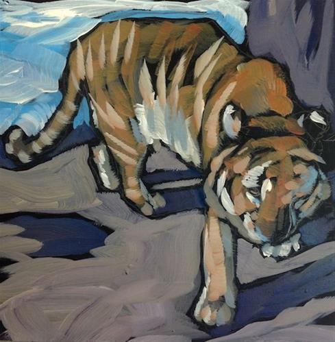 """Pacing Tiger"" original fine art by Kat Corrigan"