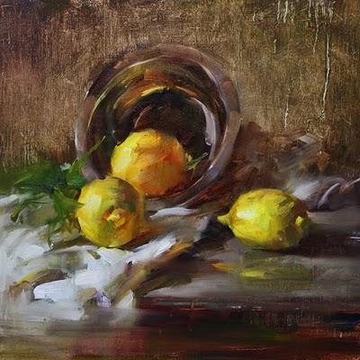 """""""Lemons"""" original fine art by Fongwei Liu"""