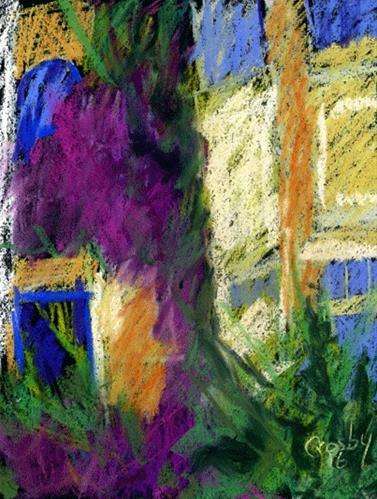 """Building Side Flowers"" original fine art by Donna Crosby"