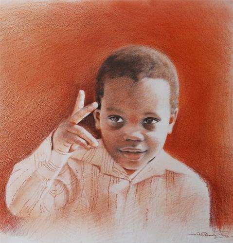 """""""Tiny 2!"""" original fine art by Adebanji Alade"""