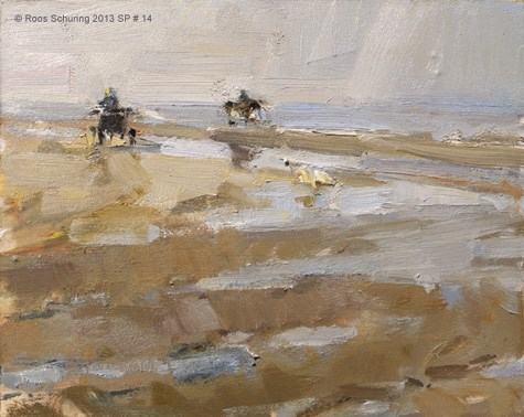 """""""Seascape spring 14 Horse carriage takes a left turn (available)"""" original fine art by Roos Schuring"""