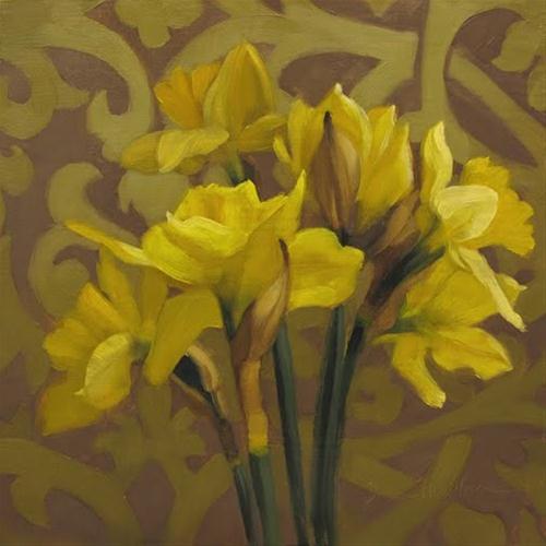 """""""Daffodils on Pattern original Hoeptner oil painting"""" original fine art by Diane Hoeptner"""