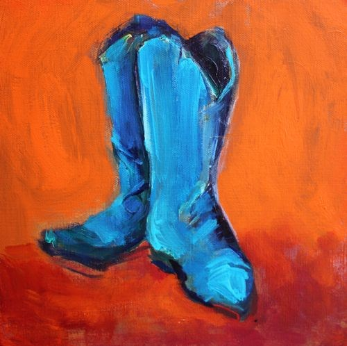 """""""Blue Boots Contemporary Still Life Paintings by Arizona Artist Amy Whitehouse"""" original fine art by Amy Whitehouse"""