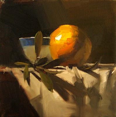 """Orange and Oak --- Sold"" original fine art by Qiang Huang"