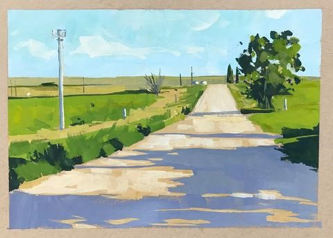 """South Dakota Road"" original fine art by Sharon Schock"