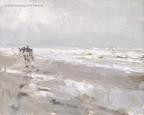 """""""Carriage and rainy beach SW#29 zeegezicht (available)"""" original fine art by Roos Schuring"""